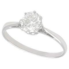 Antique 1.00 Carat Diamond and Platinum Solitaire Ring, Circa 1920