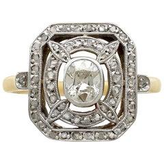 Antique 1.01 Carat Diamond and Yellow Gold Platinum Set Cocktail Ring circa 1910