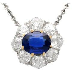Antique 1.01 Carat Sapphire and 1.76 Carat Diamond Yellow Gold Pendant