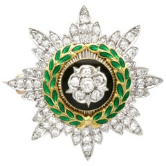 Antique 1.02 Carat Diamond and Enamel Yellow Gold Sweetheart Brooch
