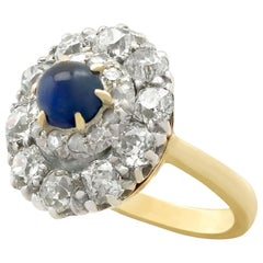 Antique 1.02 Carat Sapphire 1.83 Carat Diamond Gold Cluster Ring