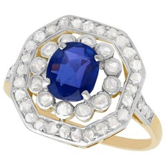 Antique 1.02 Carat Sapphire and Diamond Yellow Gold Cluster Ring