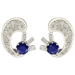 Antique 1.04 Carat Sapphire and 1.75 Carat Diamond White Gold Clip-on Earrings