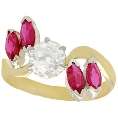 Antique 1.05 Carat Diamond and Ruby Yellow Gold Cocktail Ring