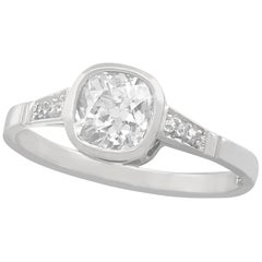 Antique 1.07 Carat Diamond and White Gold Solitaire Ring