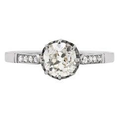 Antique 1.09 Carat Old Cut Diamond Platinum Engagement Ring, circa 1910