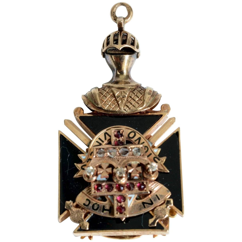 Antique 10K Gold and Enamel Free Masons Masonic Fob with  50 Carat Diamond