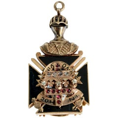 Antique 10K Gold and Enamel Free Masons Masonic Fob with .50 Carat Diamond