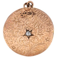 Antique 10 Karat Yellow Gold Diamond Engraved Round Locket