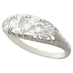 Antique 1.10 Carat Diamond and Platinum Five-Stone Ring, French, 1910