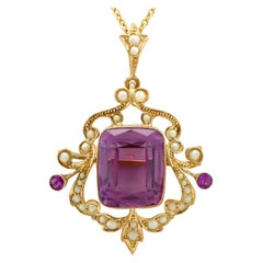 Antique 11.09 Carat Amethyst and Pearl Yellow Gold Pendant Brooch