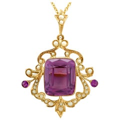 Antique 11.09 Carat Amethyst and Pearl Yellow Gold Pendant