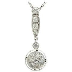 Antique 1.12 Carat Diamond and Platinum Necklace