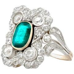 Antique 1.12 Carat Emerald 1.23 Carat Diamond Yellow Gold Dress Ring