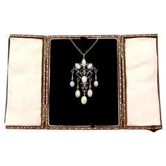 Antique 11.70 Carat Opal and Diamond Yellow Gold Pendant