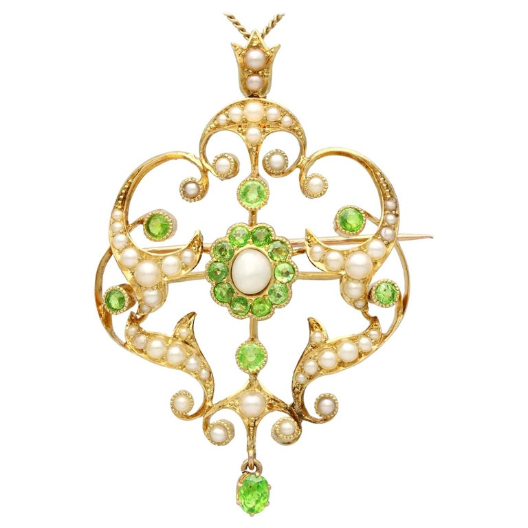 Antique 1.19 Carat Demantoid Garnet and Seed Pearl Yellow Gold Pendant Brooch For Sale