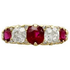 Antique 1.19 Carat Ruby and 1.15 Carat Diamond Five-Stone Dress Ring