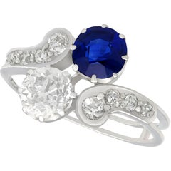 Antique 1.19 Carat Sapphire and 1.28 Carat Diamond White Gold Twist Ring