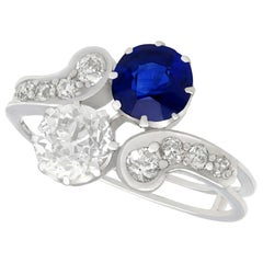 Antique 1.19 Carat Sapphire and 1.28 Carat Diamond White Gold Twist Ring