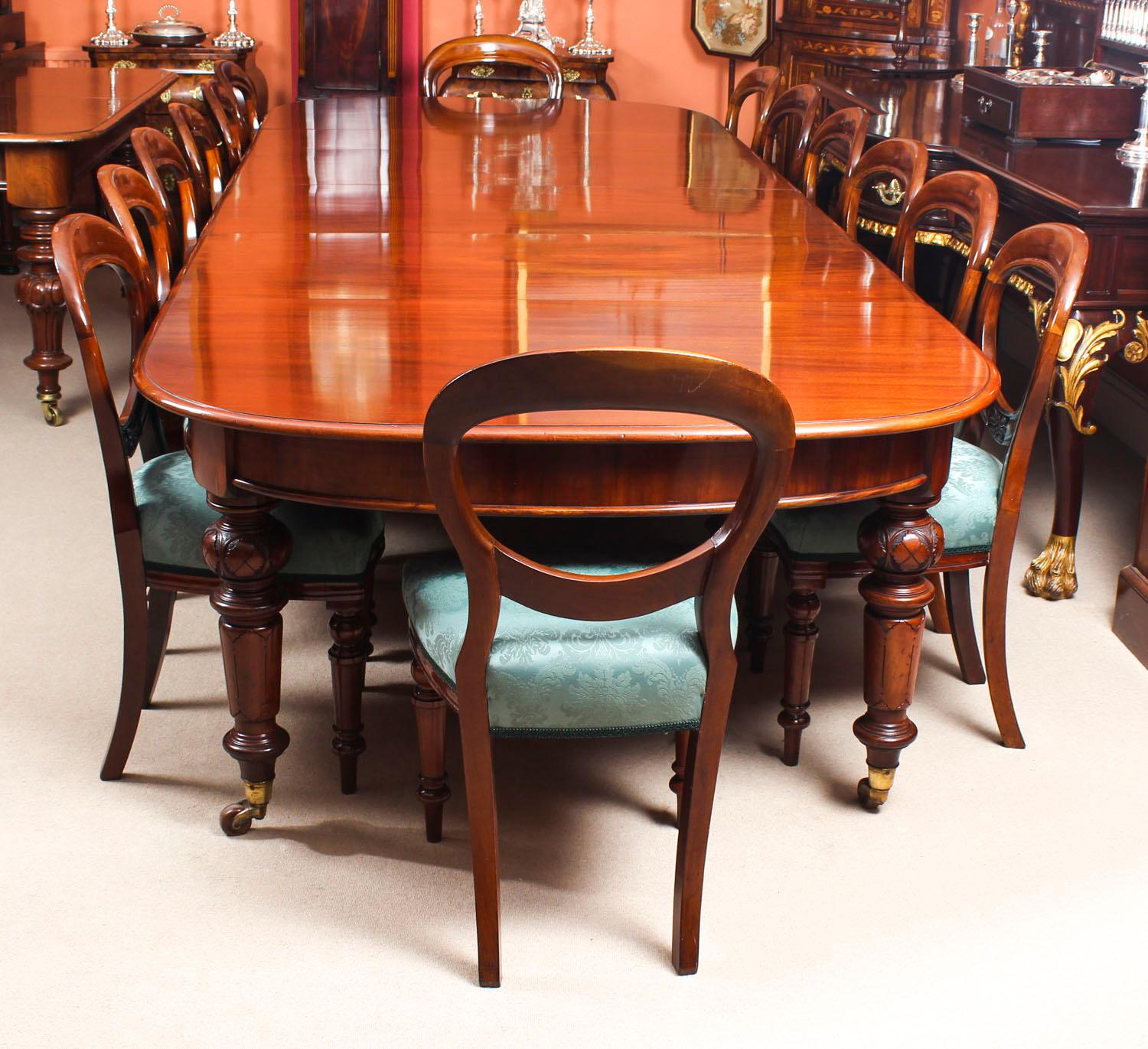 Bon Antique Victorian D End Mahogany Dining Table And 14 Chairs, 19th Century