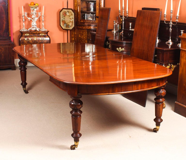 12 foot dining room table | Antique 12 Ft Victorian D-End Mahogany Dining Table and 14 ...