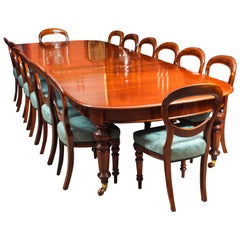 Antique 12 Ft Victorian D-End Mahogany Dining Table & 14 Chairs, 19th Century