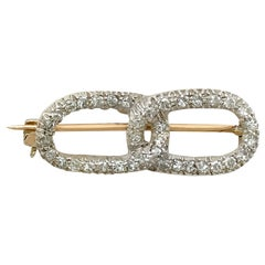 Antique 1.20 Carat Diamond Yellow Gold Brooch