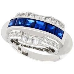 Antique 1.20 Carat Sapphire and Diamond Platinum Cocktail Ring