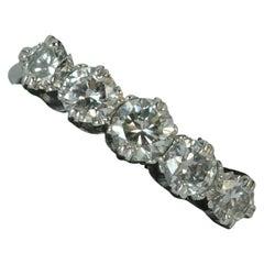 Antique 1.25 Carat Old Cut Diamond 18 Carat White Gold Five-Stone Stack Ring