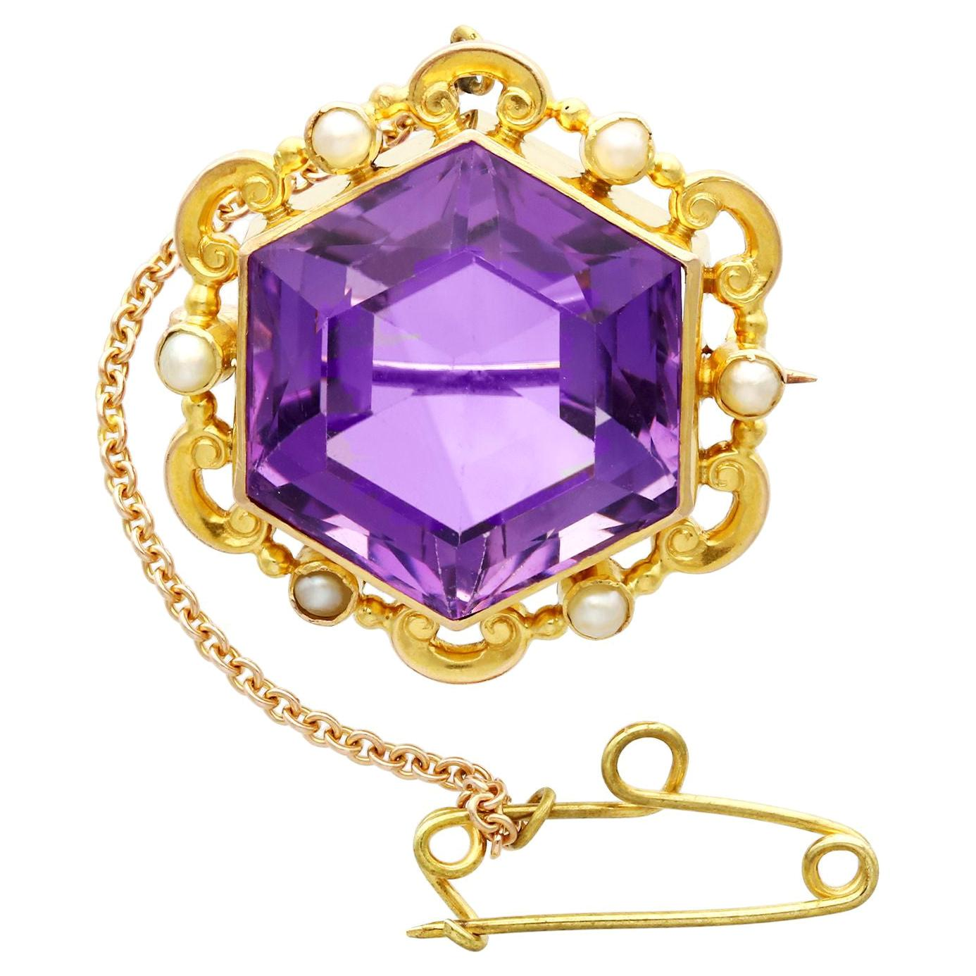 Antique 12.50 Carat Amethyst and Seed Pearl Yellow Gold Brooch, Circa 1890