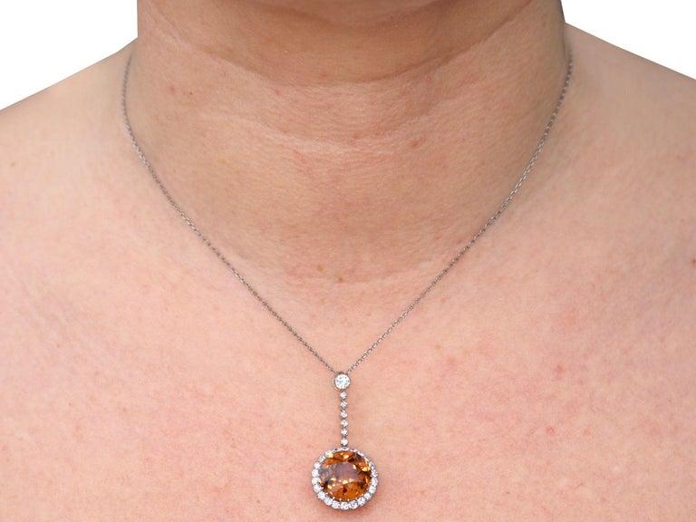 Antique 12.69 Carat Zircon and 1.04 Carat Diamond Necklace For Sale 5