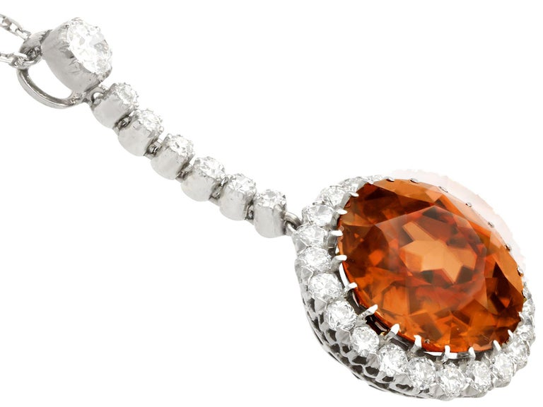 Round Cut Antique 12.69 Carat Zircon and 1.04 Carat Diamond Necklace For Sale