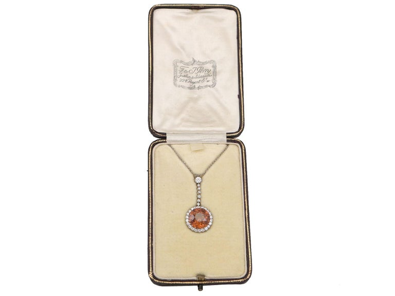 Women's Antique 12.69 Carat Zircon and 1.04 Carat Diamond Necklace For Sale