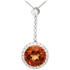 Antique 12.69 Carat Zircon and 1.04 Carat Diamond Necklace