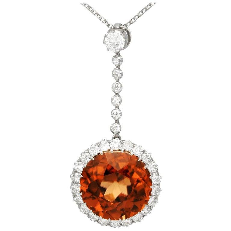 Antique 12.69 Carat Zircon and 1.04 Carat Diamond Necklace For Sale