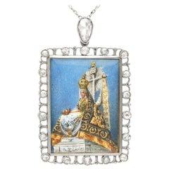 Antique 1.28 Carat Diamond & Painted Enamel Platinum Miniature Portrait Pendant