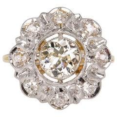 Antique 1.28 Carat Old European Diamond Wedding Yellow Gold Ring EGL USA