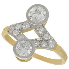 Antique 1.29 Carat Diamond and Yellow Gold Cocktail Ring