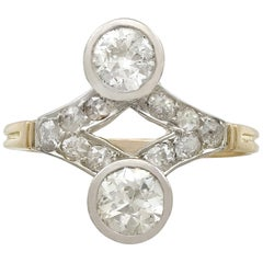 Antique 1.29 Carat Diamond and Yellow Gold Ring