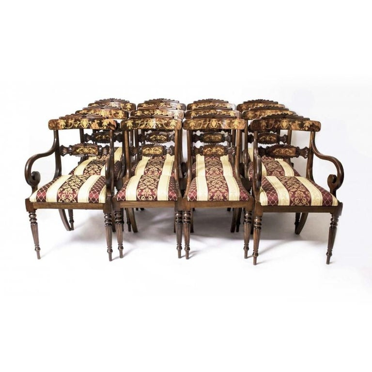 Antique Elizabethan Revival Pollard Oak Dining Table 19th Century and 14 Chairs For Sale 9