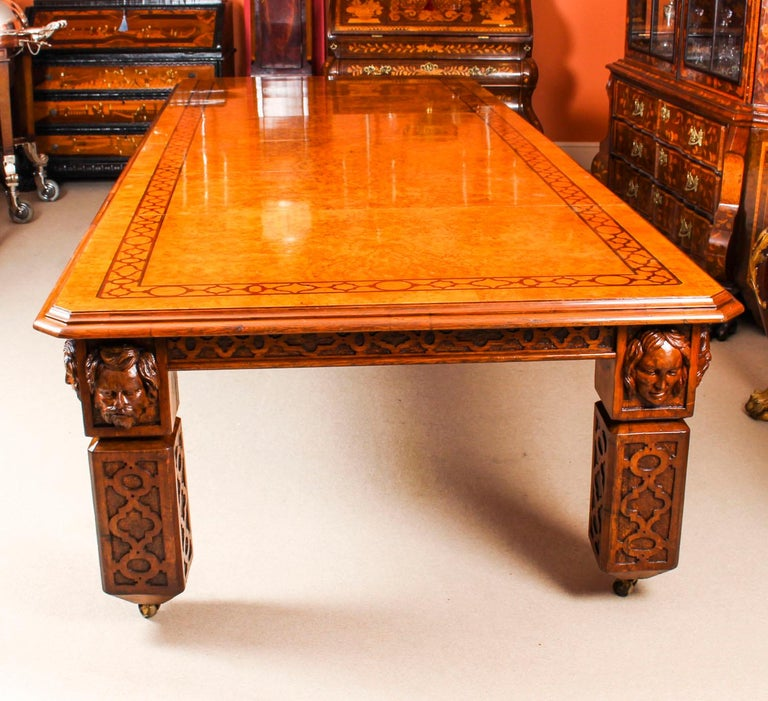 Marquetry Antique Elizabethan Revival Pollard Oak Dining Table 19th Century and 14 Chairs For Sale