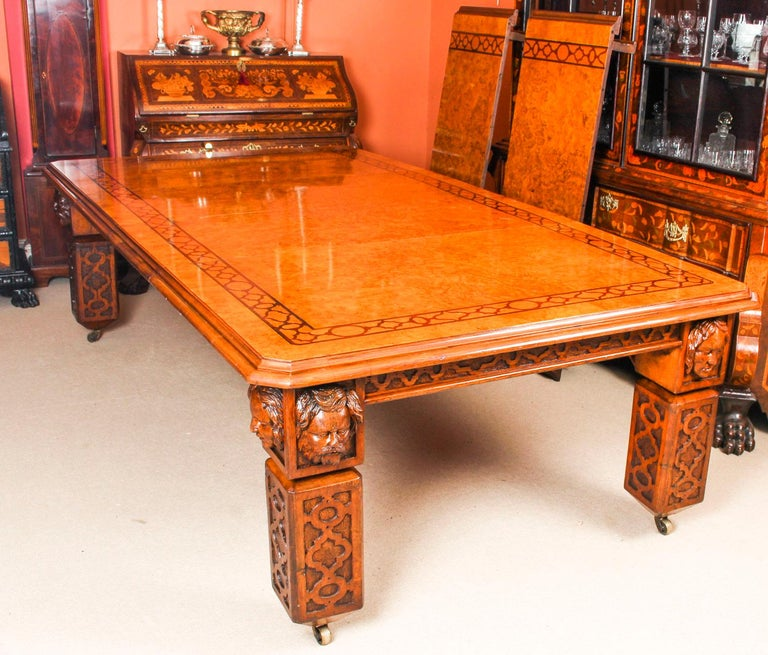 Antique Elizabethan Revival Pollard Oak Dining Table 19th Century and 14 Chairs In Good Condition For Sale In London, GB