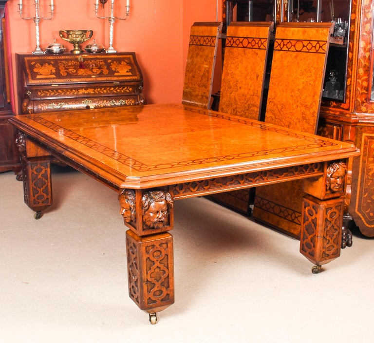 Mid-19th Century Antique Elizabethan Revival Pollard Oak Dining Table 19th Century and 14 Chairs For Sale