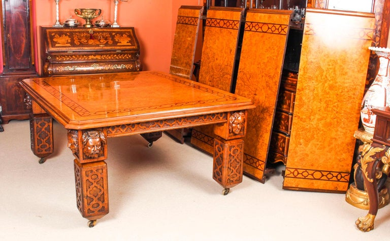 Antique Elizabethan Revival Pollard Oak Dining Table 19th Century and 14 Chairs For Sale 1