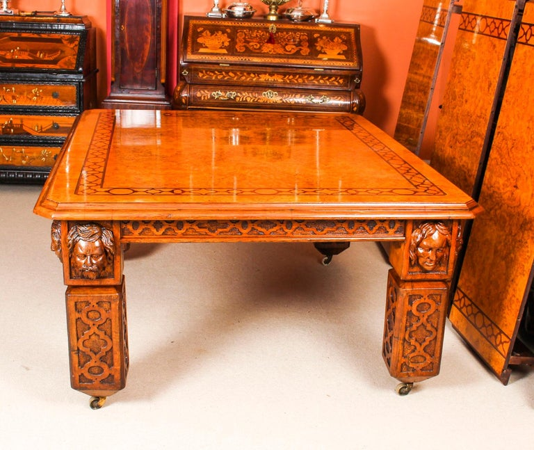 Antique Elizabethan Revival Pollard Oak Dining Table 19th Century and 14 Chairs For Sale 2
