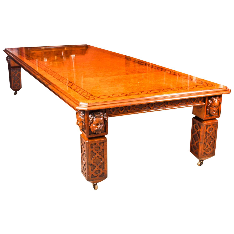 Antique Elizabethan Revival Pollard Oak Extending Dining Table, 19th Century
