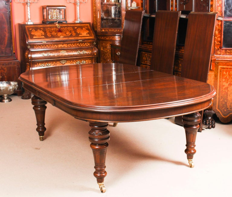 Antique Victorian D-End Mahogany Dining Table 19th Century and 10 Chairs 8