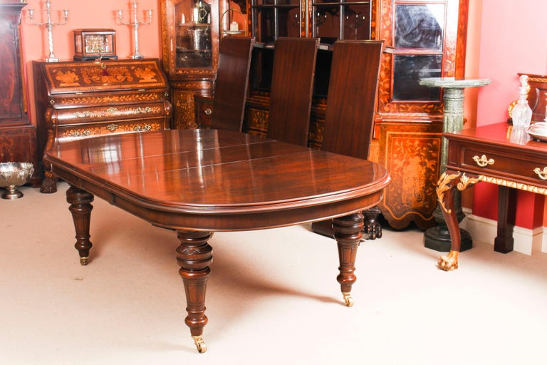 Antique Victorian D-End Mahogany Dining Table 19th Century and 10 Chairs 9