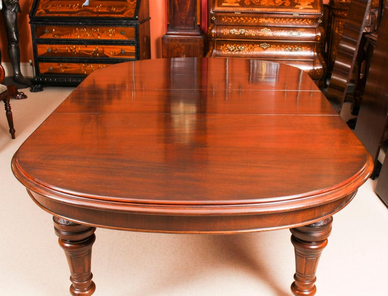 Antique Victorian D-End Mahogany Dining Table 19th Century and 10 Chairs 10