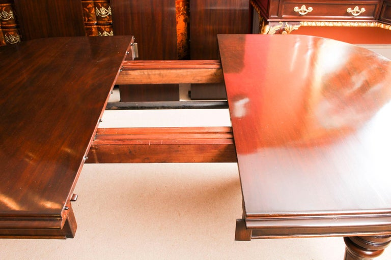 Antique Victorian D-End Mahogany Dining Table 19th Century and 10 Chairs 13